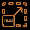 Icono de un cuadrado con la marca NÜO dentro y una flecha en señal de crecimiento representa que el control de acceso NÜO Go! se adapta a la necesidad de los clientes