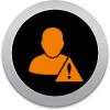 Icono de una una persona con un signo de admiración al lado en representación de falta de control