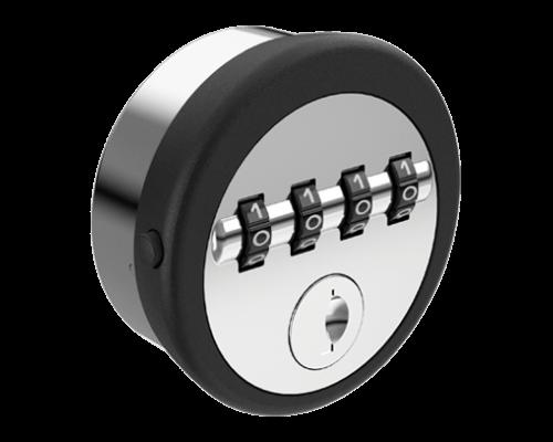 Cerradura mecánica redonda con clave de 4 dígitos con borde negro y frente gris, con logo en la parte superior y ranura para llave en la parte inferior