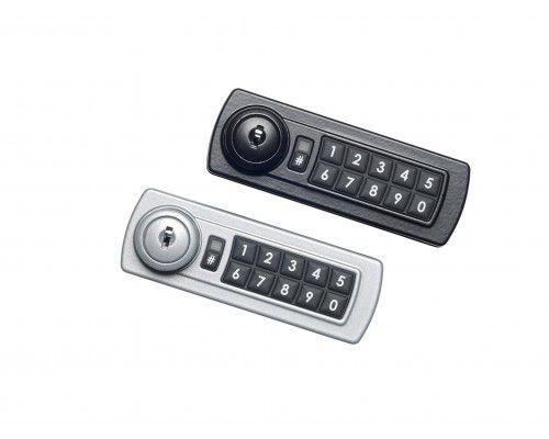 Cerradura de combinación digital horizontal con botones de color negro y números blancos ubicados en el lado derecho y al lado izquierdo ranura para llave.
